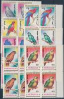 1990 Papagájok sor ívszéli négyestömbökben Mi 2182-2188