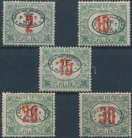 Debrecen I. 1919 5 klf Pirosszámú Portó érték (15.100) / 5 different postage due stamps. Signed: Bodor