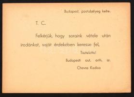 1944 A Budapesti Chevra Kadisa levelezőlapja, melyben kéri hogy a címzett saját érdekében keresse fel az irodát. A vészkorszak dokumentuma.