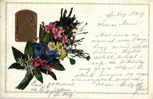 1915 Isonzo Armee / WWI military memorial card, floral Emb., 1915 Isonzo Armee, I. világháborús emléklap, dombornyomat