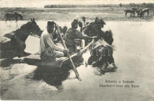 Überfahrt über die Save / Hungarian hussars crossing the River Sava, Átkelés a Száván, magyar huszárok