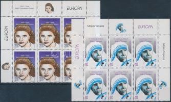 1996 Europa CEPT, Híres nők ívsarki 6-es tömbökben Mi 74-75