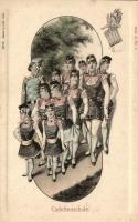 Cadettenschule, Verlag Schaar & Dathe, Trier / K.u.K. military, gently erotic art postcard, K.u.K. hadsereg, finoman erotikus képeslap