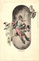 Husaren, Franzensbad, Verlag Schaar & Dathe, Trier / K.u.K. military, gently erotic art postcard, K.u.K. hadsereg, finoman erotikus művészeti képeslap