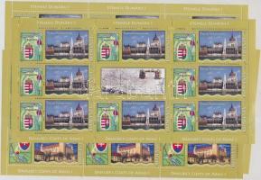 Danube countries Coats of arms (I) minisheet set, Duna menti államok címerei (I) kisív sor benne a budapesti Parlamentet és a magyar címert ábrázoló bélyeg