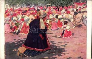 Cseh folklór, s: J. Uprka, Na procesi. / Czech folklore s: J. Uprka