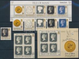 1990 150 éves a bélyeg Mi 431 + kisív + blokk 12-13 + blokkból kitépett bélyegek 432, 433-436