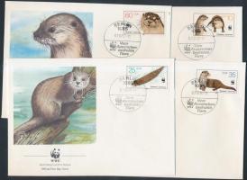 1987 WWF: vidra sor Mi 3107-3110 4 FDC-n