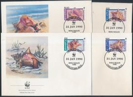 1990 WWF: csigák sor Mi 523-526 4 FDC-n