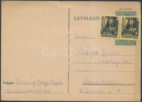 1945 (5.díjszabás) Távolsági levelezőlap levélként feladva Kisegítő (III) 2x60P/18f bérmentesítéssel