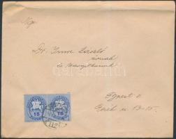1946 (12.díjszabás) Helyi levél alul bérmentesítve Lovasfutár 15eP párral, talán Nyomtatványként adták fel?