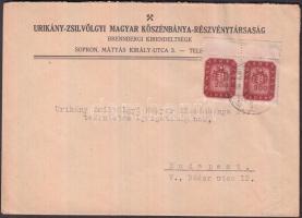 1946 (18.díjszabás) Távolsági céges levél Milpengős 200mP ívszéli párral bérmentesítve, értékszámok jobbra-felfelé eltolódtak