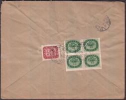 1946 (18.díjszabás) Helyi céges levél Milliós 10millióP négyestömb + Milpengős 200mP bérmentesítve, négyestömb elfogazva