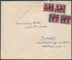 1945 (5.díjszabás) Helyi levél Kisegítő 4x20P/30f bérmentesítéssel