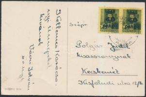 1945 (5.díjszabás) Távolsági képeslap Kisegítő (III) 40P/8f párral bérmentesítve
