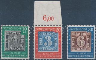 1949 100 éves a német bélyeg benne 20 Pf lemezhibával Mi 113-114 II + 115