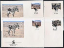 1991 WWF: Hegyi zebra sor Mi 702-705 4 FDC-n