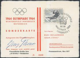 1964 Georg Thoma síző aláírása téli olimpia alkalmi borítékján / Autograph signature of skier Georg Thoma on Olympic Games PS card