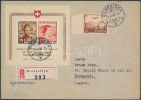 1941 Pro Juventute blokk Mi 6 ajánlott levélen Budapestre / on registered cover to Hungary