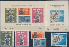 1965 Nyári olimpia fogazott sor Mi 1192-1196 + vágott blokk pár Mi 3-4