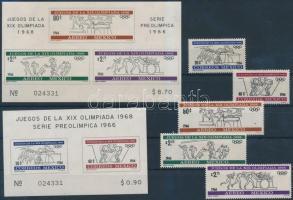 1966 Nyári olimpia fogazott sor Mi 1214-1218 + vágott blokk pár Mi 5-6