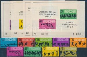 1967 Nyári olimpia fogazott sor Mi 1236-1244 + 4 klf vágott blokk Mi 7-10