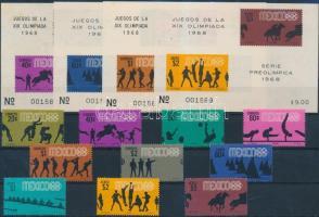 1967 Nyári olimpia fogazott sor Mi 1261-1270 + 4 klf vágott blokk Mi 11-14