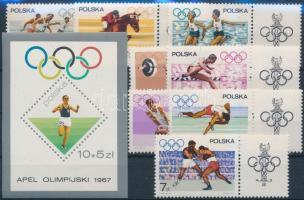 1967 Olimpia sor Mi 1761-1768 + vágott blokk nyomtatott fogazással Mi 40