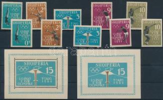 1962 Nyári olimpia 1964, Tokió sor Mi 657-661 AB + fogazott és vágott blokk Mi 8 AB