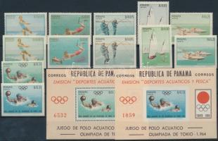 1964 Tokioi olimpai fogazott és vágott sor Mi 734-745 + blokk 21-22