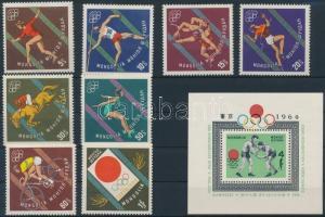 1964 Nyári olimpia sor Mi 356-363 + blokk 8