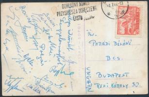 1962 A Tatabányai Bányász labdarúgó csapat tagjainak saját kezű aláírásával hazaküldött lap, rajta