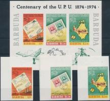 1974 100 éves az UPU ívsarki vágott sor Mi 182-184 + blokk 10