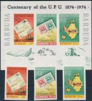 1974 100 éves az UPU vágott sor Mi 182-184 + blokk 10