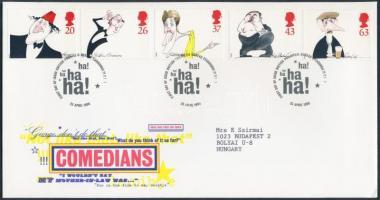 1998 Kariakatúrák, híres komikusok sor Mi 1749-1753 FDC-n