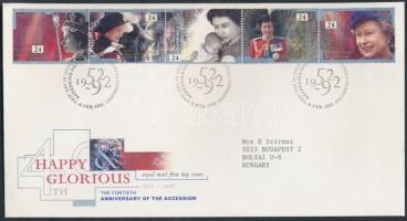1992 II. Erzsébet királynő ötöscsík Mi 1387-1391 FDC-n