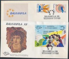 International Stamp Exhibition set + block 2 FDC, Nemzetközi bélyegkiállítás sor + blokk 2 db FDC-n