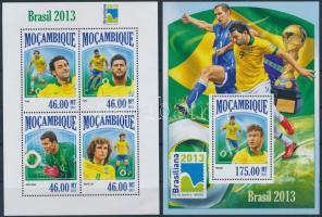 2013 Brasiliana bélyegkiállítás, labdarúgás kisív + blokk Mi 6932-6935 + 826