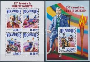 2013 150 éve született Pierre de Coubertin kisív + blokk Mi 6852-6855 + 810