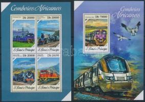 Railways, locomotives mini sheet + block, Vasút, mozdonyok kisív + blokk