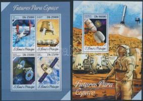 Space research, space vehicles minisheet + block, Űrkutatás, űrjárművek kisív + blokk