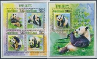 Giant panda mini sheet 4 values +block, Óriás panda 4é kisív + blokk