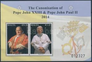 2014 XXIII. János és II. János Pál pápa szentté avatása blokk Mi 59