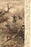 Fox hunting, litho s: Heyer, Rókavadászat, litho s: Heyer