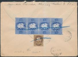 1946 (11.díjszabás) Távolsági levél Köztársaság 15eP négyescsík + Lovasfutár 20eP bérmentesítéssel, bélyegek áthúzással is érvénytelenítve