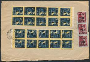 1945 (5.díjszabás) Távolsági céges levél Kisegítő (II) 20x3P/50f + 3x20P/30f bérmentesítéssel (boríték szétnyitva, 1 bélyeg beszakadt)