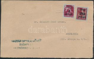 1945 (5.díjszabás) Helyi levelezőlap korábbi díjszabás szerinti bérmentesítéssel Kisegítő (II) 4P/30f + 20P/30f bélyegekkel, bélyegző hiányában áthúzással érvénytelenítették a bélyegeket