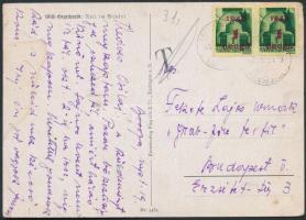1945 (2.díjszabás) Távolsági képeslap Kisegítő (I) 2x1P/1P bérmentesítéssel, T portóbélyegzéssel / Postcard with postage due