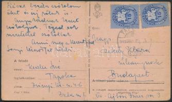 1946 (9.díjszabás) Távolsági levelezőlap Lovasfutár 2x15eP bérmentesítéssel (hajtott)
