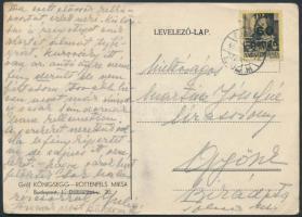 1945 (5.díjszabás) Távolsági levelezőlap Kisegítő (III) 60P/18f alul bérmentesítéssel
